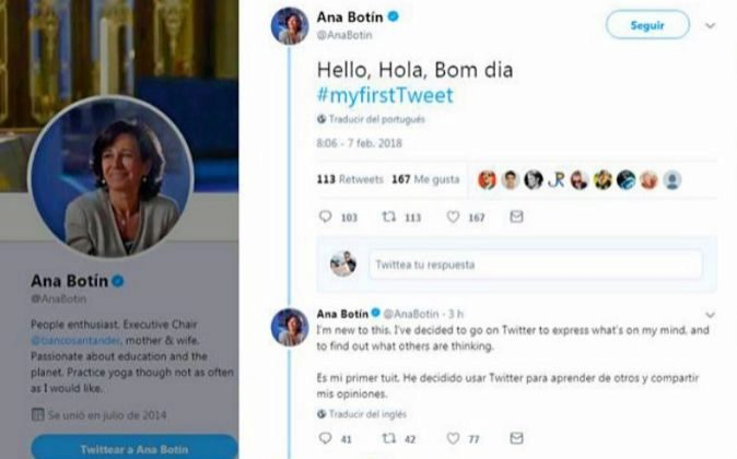 Twitter de Ana Botín, presidenta del Banco Santander.