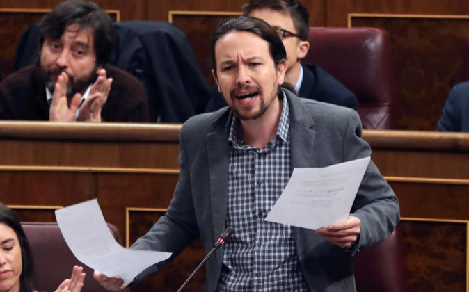 El secretario general de Podemos, Pablo Iglesias, durante una...