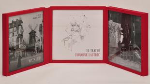 Vista del cofre abierto en que se presentan las litografías y los...
