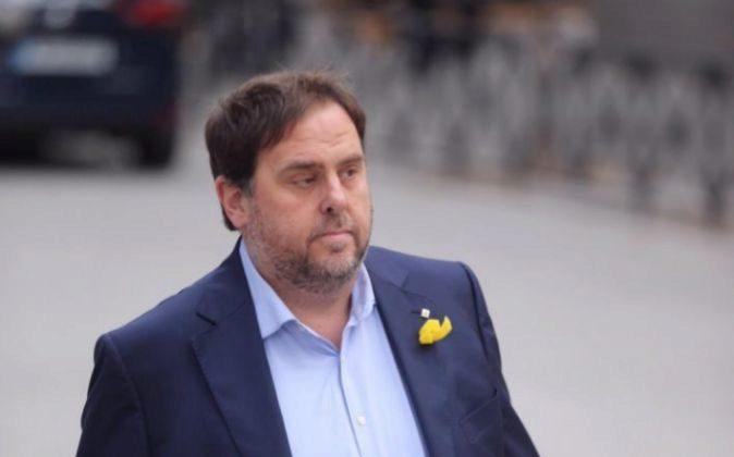 Última imagen del presidente de ERC, Oriol Junqueras, a su llegada a...