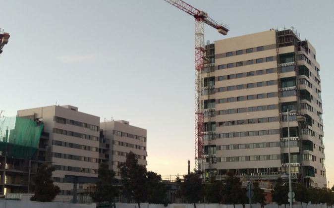 Construcción de viviendas en Valdebebas, en Madrid.