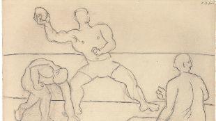 Pablo Picasso. Personajes en la playa, 1920. Carboncillo y lápiz...