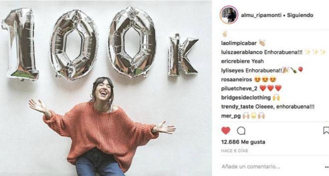 Post de la falsa 'influencer' celebrando sus 100.000...