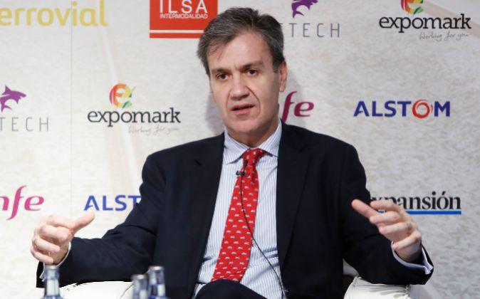 Juan Alfaro, presidente de Renfe, durante la jornada.
