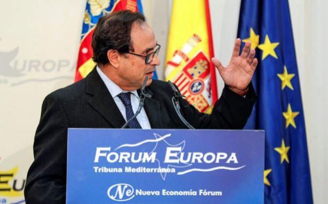 El conseller de Hacienda, Vicent Soler, durante su intervención.