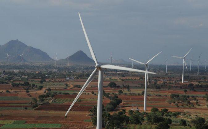 Imagen de un parque eólico de Gamesa en India