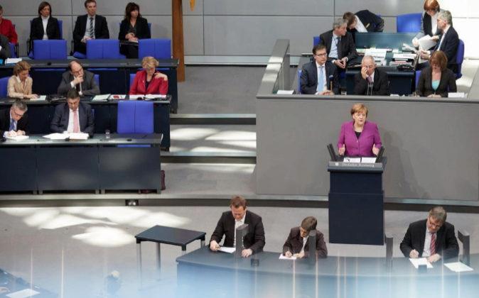La canciller alemana, Angela Merkel, hoy durante su discurso durante...