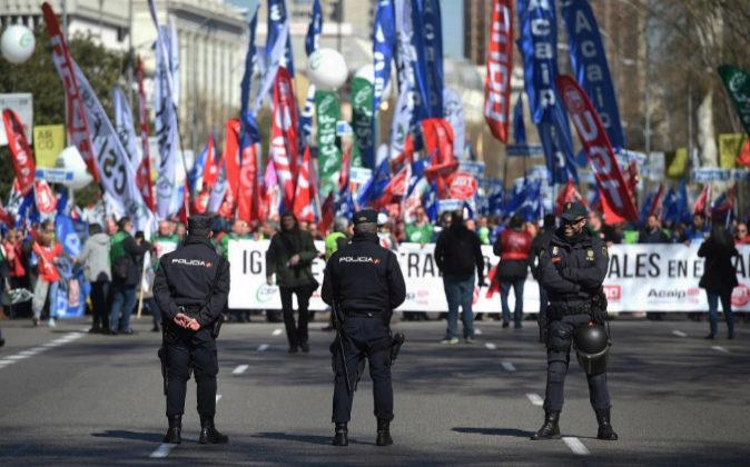 Funcionarios de prisiones durante la manifestación del pasado sábado...