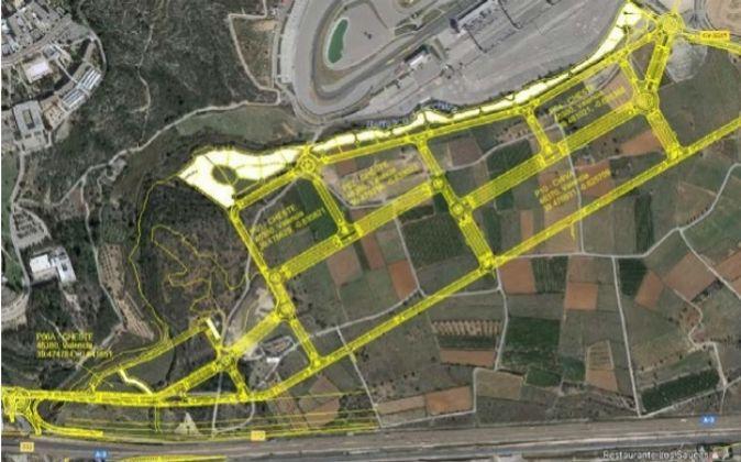 El plano del parque empresarial donde Lar España ha comprado el...