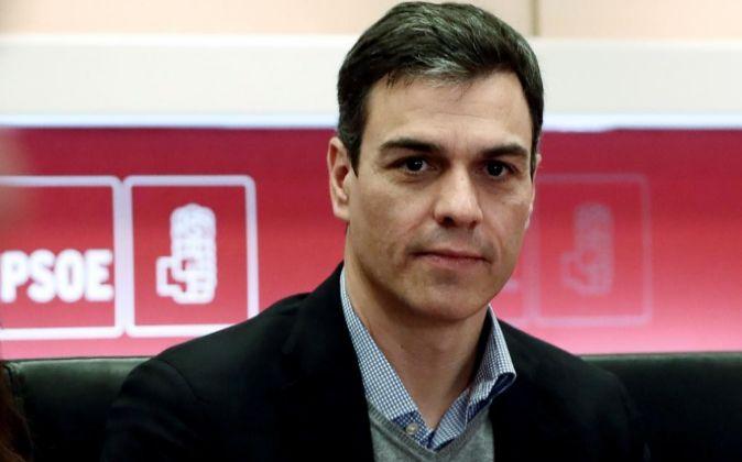 El Secretario General del PSOE Pedro Sánchez, durante la reunión de...