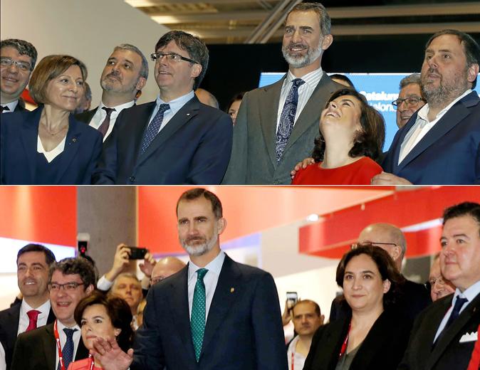Inauguración del Mobile en 2017: Carme Forcadell, Carles Puigdemont,...