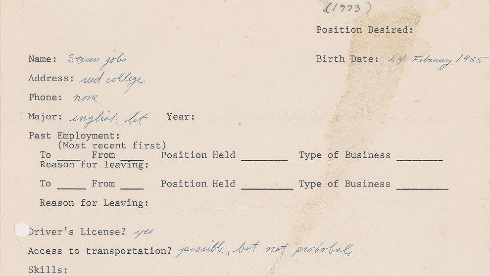 Imagen de la primera solicitud de empleo de Steve Jobs, fundador de la...