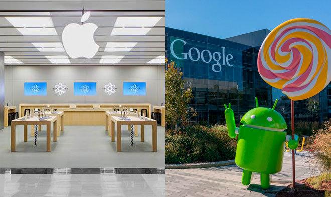 Tienda de Apple (izquierda) y sede de Google (derecha).
