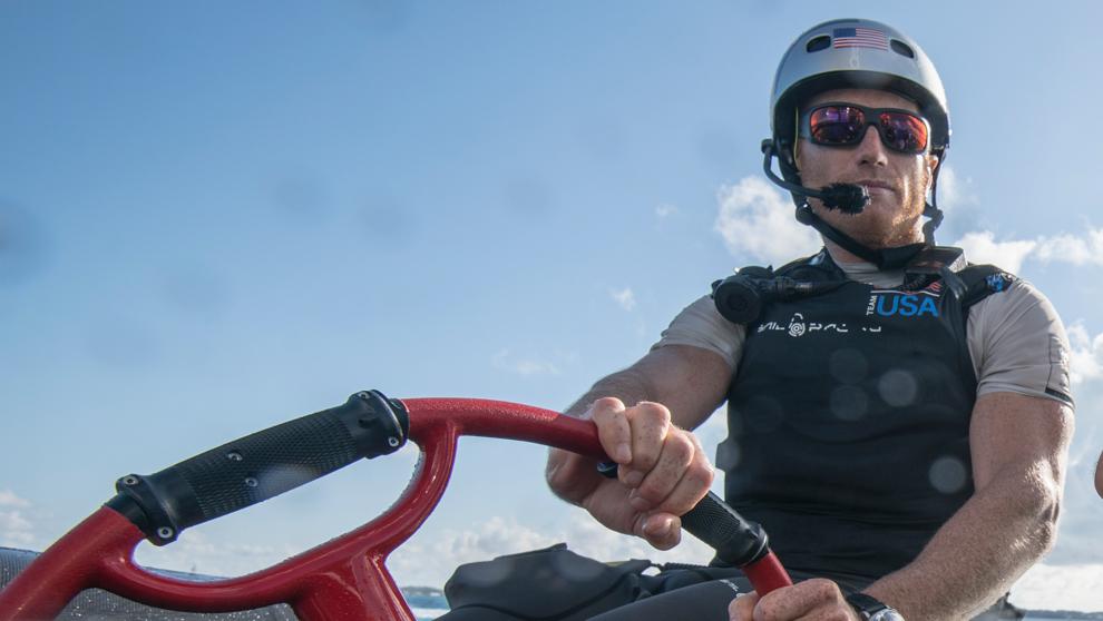 James Spithill, durante un entrenamiento en Bermudas.