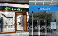 Oficinas de Unicaja (izquierda) y Banco Sabadell.