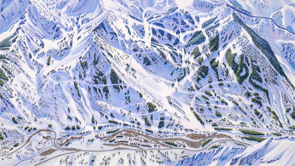 La ilustración del mapa de pistas de Snowbird, en Utah, considerado...