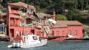 Estado en el que quedó la mansión tras el accidente.