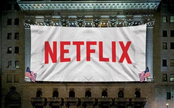 Logo de Neflix sobre la Bolsa de Nueva York.