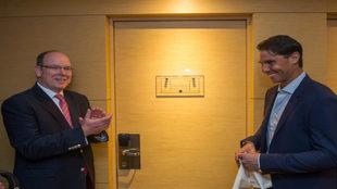 Nadal en la inauguración de la suite que lleva su nombre, junto al...