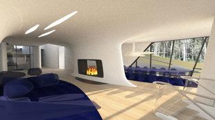 Salón interior con chimenea.