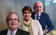 De izqda., a dcha., José Antonio Calleja, nuevo socio de KWM; Candela...
