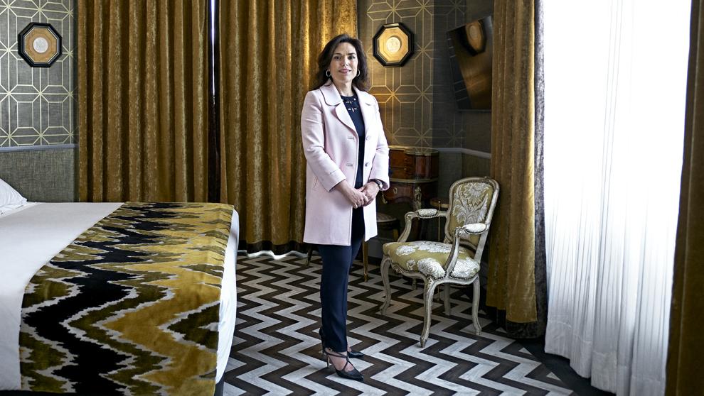 Verónica García Castelo, 45 años, en una de las habitaciones del...