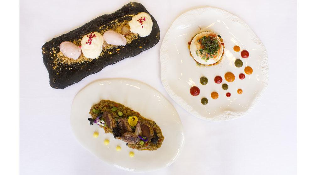 Los tres platos que componen el menú La Herencia de Velázquez que...