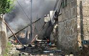 Vista de los destrozos provocados por una explosión ocurrida esta...