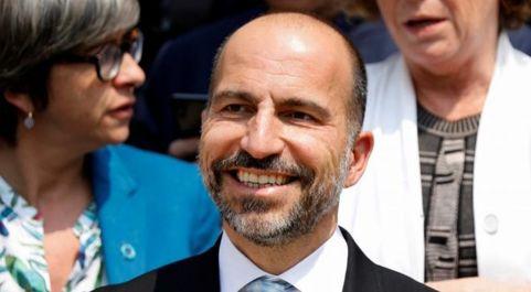 El presidente de Uber, Dara Khosrowshahi, durante su reciente visita a...
