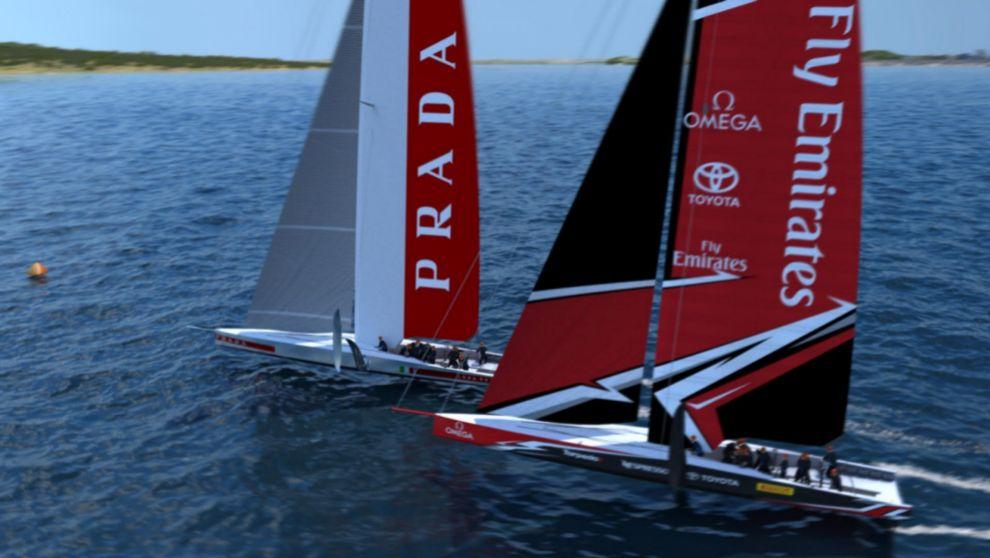 Recreación de los AC75 de Emirates Team New Zealand y Luna Rossa...