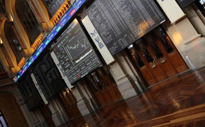 Imagen del interior de la Bolsa en Madrid.