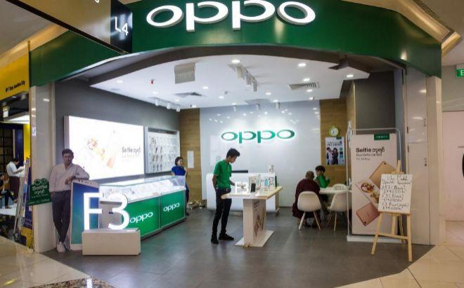 Tienda de Oppo en un centro comercial de Yangon, Myanmar.