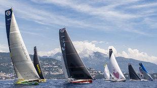 La flota de embarcaciones de la regata Monaco Globe Series, durante la...