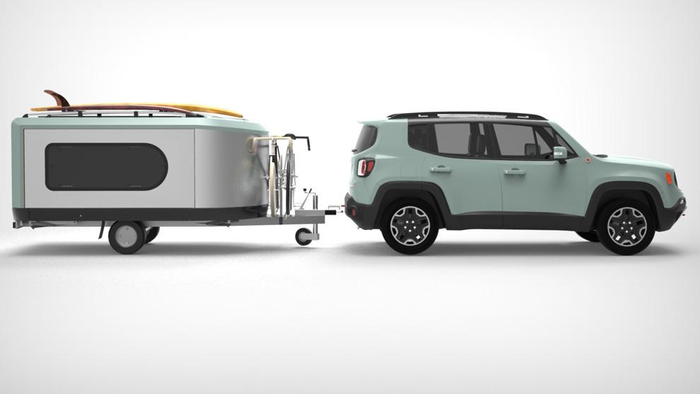Tipoon más jeep, una caravana que triplica su tamaño.