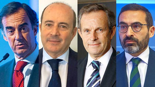 De izquierda a derecha, Juan Villar-Mir, presidente de OHL; José...