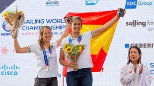 Silvia Mas y Patricia Cantero, en el podio de Aarhus.