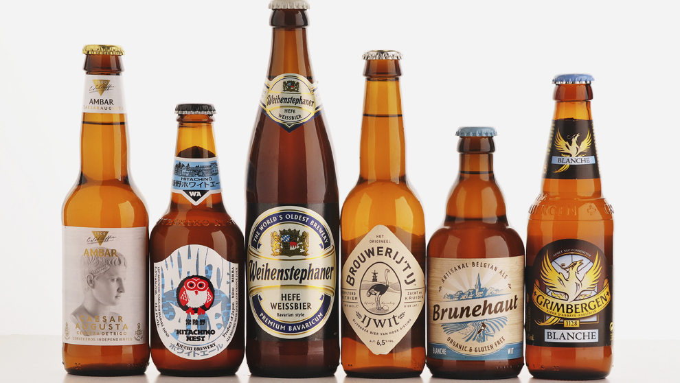 Seis cervezas hechas a base de trigo libre de gluten.