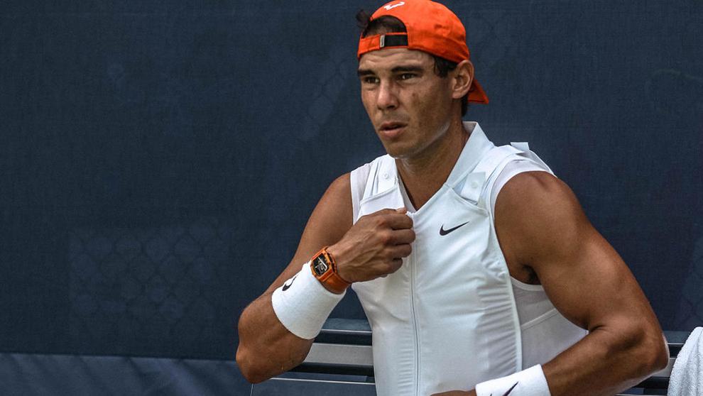 Rafael Nadal durante el encuentro con Dominic Thiem en el US Open de...