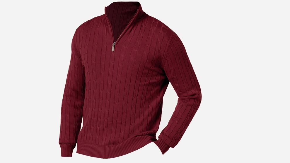 Jersey con cuello, la opción de la cremallera en la parte alta es de...