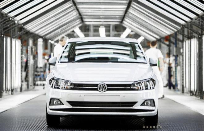 Imagen de un Volkswagen Polo en la factoría de Volkswagen Navarra.