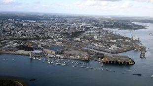 Imagen aérea del puerto de Lorient.
