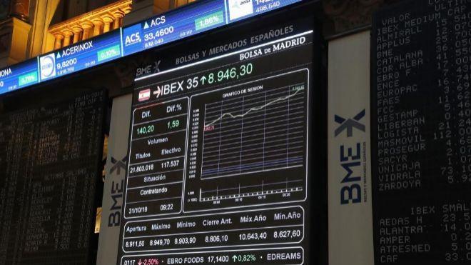 Marcador del Ibex 35 en la Bolsa de Madrid.