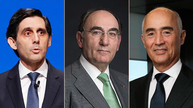 De izquierda a derecha, José María Alvarez-Pallete, Ignacio Galán y...