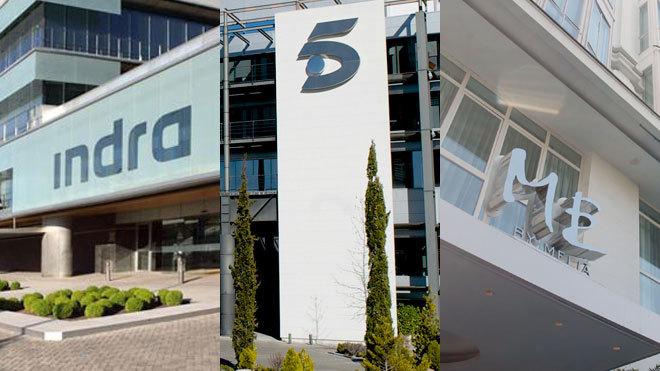 De izquierda a derecha, sedes de Indra y Mediaset en Madrid y hotel de...