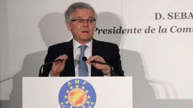 El presidente de la CNMV, Sebastián Albella, durante su intervención...