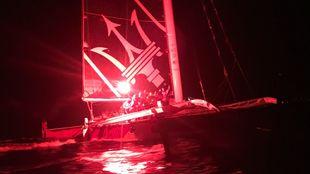 La tripulación del Maserati, celebrando su victoria en la RORC...