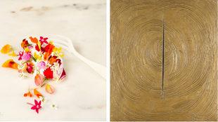 Decadentia: mousse de anguila ahumada y flores con tenedor de...