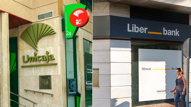 Oficinas bancarias de Unicaja y Liberbank.