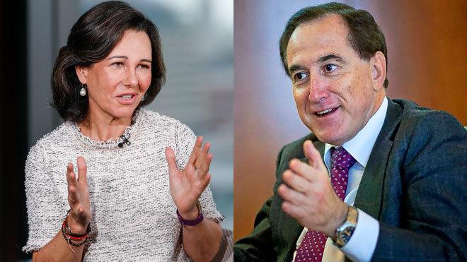 Ana Botín, presidenta de Santander (izquierda) y Antonio Huertas,...
