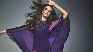 Body interior violeta y caftán de muselina de seda natural violeta...